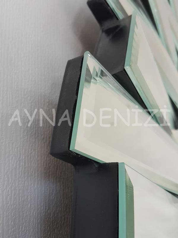 Güneş Duo Silver Model Siyah Gümüş Renk Dekoratif Aynalı Duvar Saati-15