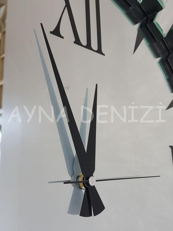 Güneş Duo Silver Model Siyah Gümüş Renk Dekoratif Aynalı Duvar Saati-18