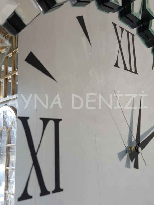 Güneş Duo Silver Model Siyah Gümüş Renk Dekoratif Aynalı Duvar Saati-20