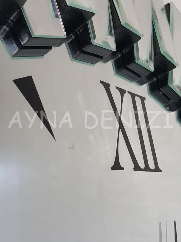 Güneş Duo Silver Model Siyah Gümüş Renk Dekoratif Aynalı Duvar Saati-21