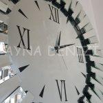 Güneş Duo Silver Model Siyah Gümüş Renk Dekoratif Aynalı Duvar Saati-22