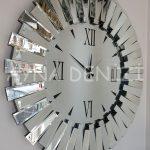 Güneş Duo Silver Model Siyah Gümüş Renk Dekoratif Aynalı Duvar Saati-3