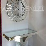 Güneş Duo Silver Model Siyah Gümüş Renk Dekoratif Aynalı Duvar Saati-4