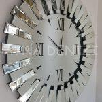 Güneş Duo Silver Model Siyah Gümüş Renk Dekoratif Aynalı Duvar Saati-5