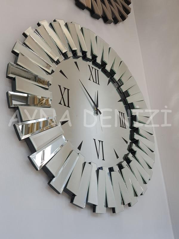 Güneş Duo Silver Model Siyah Gümüş Renk Dekoratif Aynalı Duvar Saati-7