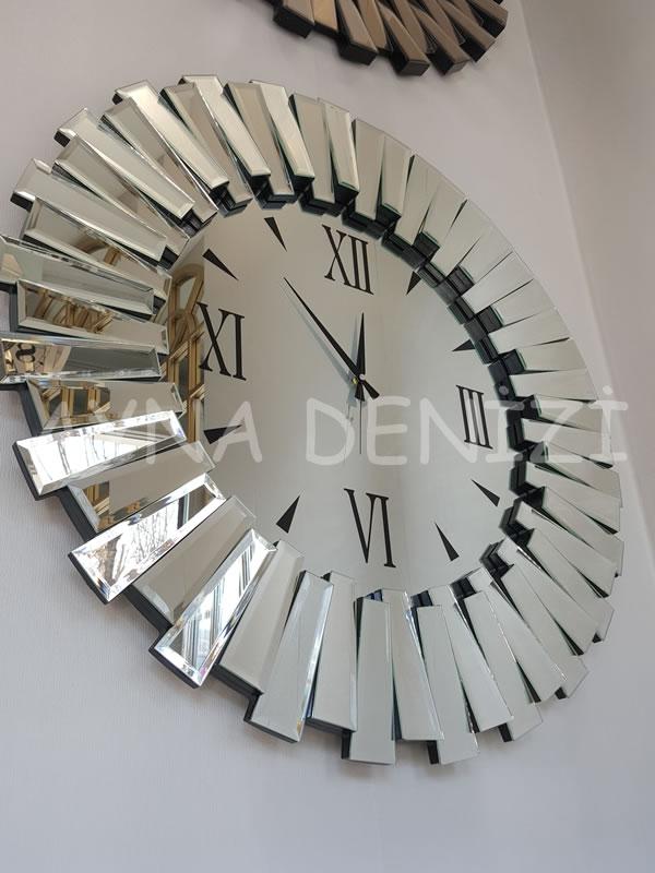 Güneş Duo Silver Model Siyah Gümüş Renk Dekoratif Aynalı Duvar Saati-8