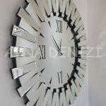 Güneş Duo Silver Model Siyah Gümüş Renk Dekoratif Aynalı Duvar Saati-9