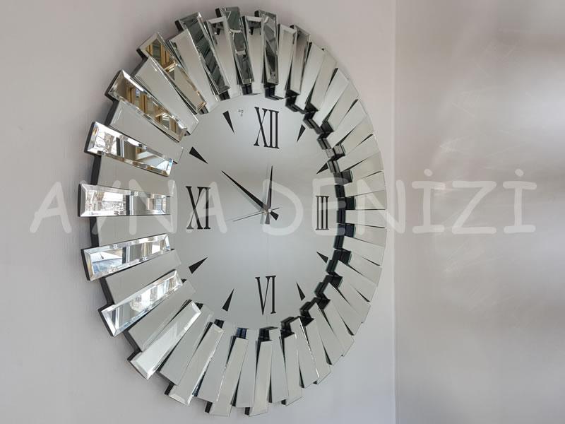 Güneş Duo Silver Model Siyah Gümüş Renk Dekoratif Aynalı Duvar Saati
