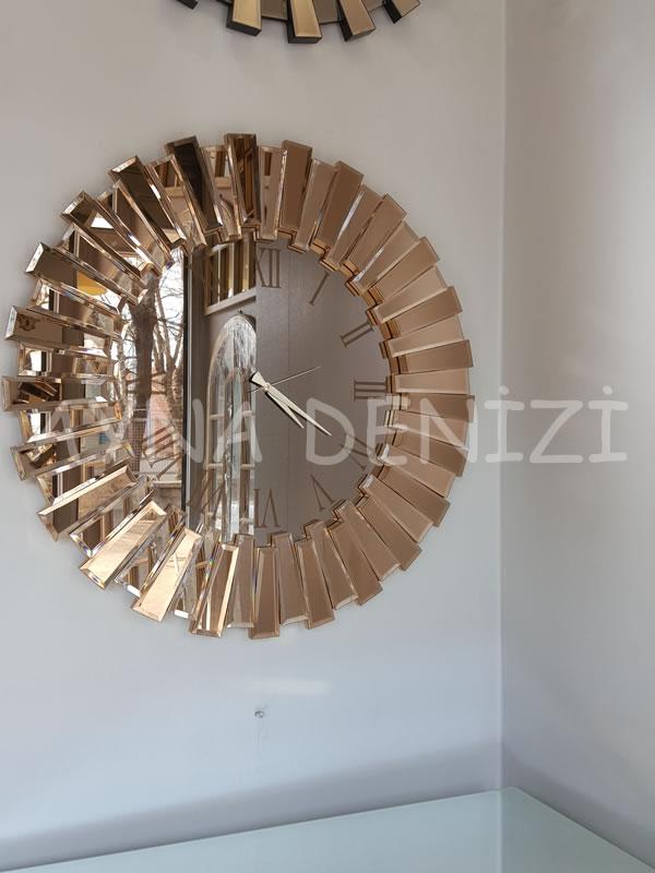 Güneş Roma Gold Bronze Model Altın Bronz Renk Dekoratif Aynalı Duvar Saati-10