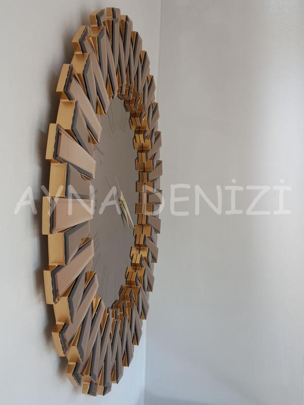 Güneş Roma Gold Bronze Model Altın Bronz Renk Dekoratif Aynalı Duvar Saati-11