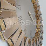 Güneş Roma Gold Bronze Model Altın Bronz Renk Dekoratif Aynalı Duvar Saati-16