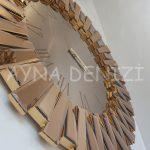 Güneş Roma Gold Bronze Model Altın Bronz Renk Dekoratif Aynalı Duvar Saati-18