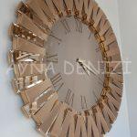 Güneş Roma Gold Bronze Model Altın Bronz Renk Dekoratif Aynalı Duvar Saati-2