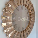 Güneş Roma Gold Bronze Model Altın Bronz Renk Dekoratif Aynalı Duvar Saati-4