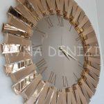 Güneş Roma Gold Bronze Model Altın Bronz Renk Dekoratif Aynalı Duvar Saati-6
