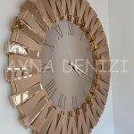 Güneş Roma Gold Bronze Model Altın Bronz Renk Dekoratif Aynalı Duvar Saati-8