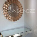 Güneş Roma Gold Bronze Model Altın Bronz Renk Dekoratif Aynalı Duvar Saati-9