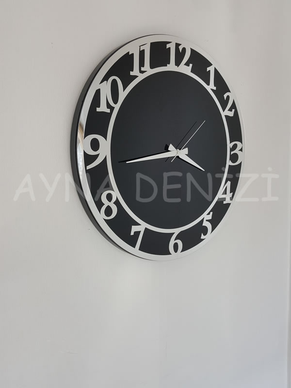 Silver Matris Black Model Gümüş Siyah Renk Dekoratif Aynalı Duvar Saati-10