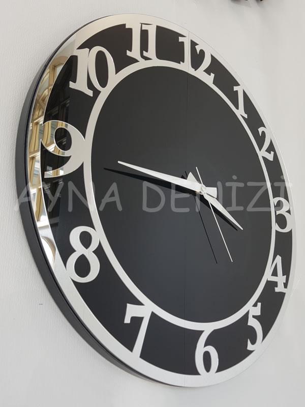 Silver Matris Black Model Gümüş Siyah Renk Dekoratif Aynalı Duvar Saati-14