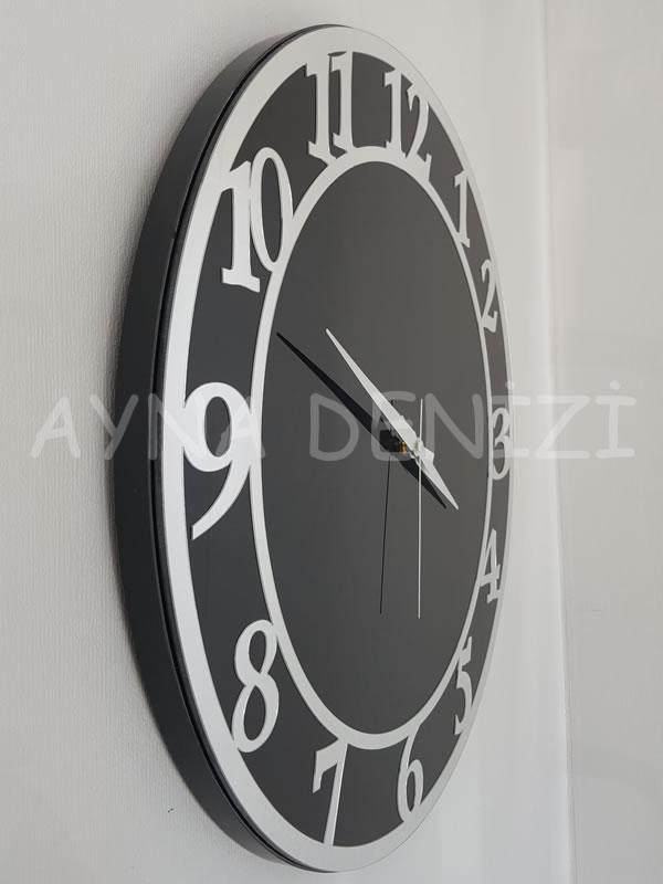 Silver Matris Black Model Gümüş Siyah Renk Dekoratif Aynalı Duvar Saati-16