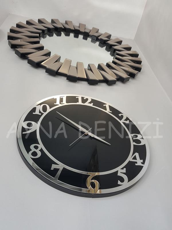 Silver Matris Black Model Gümüş Siyah Renk Dekoratif Aynalı Duvar Saati-18
