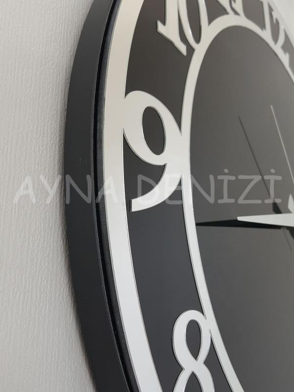 Silver Matris Black Model Gümüş Siyah Renk Dekoratif Aynalı Duvar Saati-20