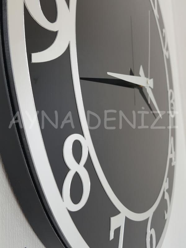 Silver Matris Black Model Gümüş Siyah Renk Dekoratif Aynalı Duvar Saati-21