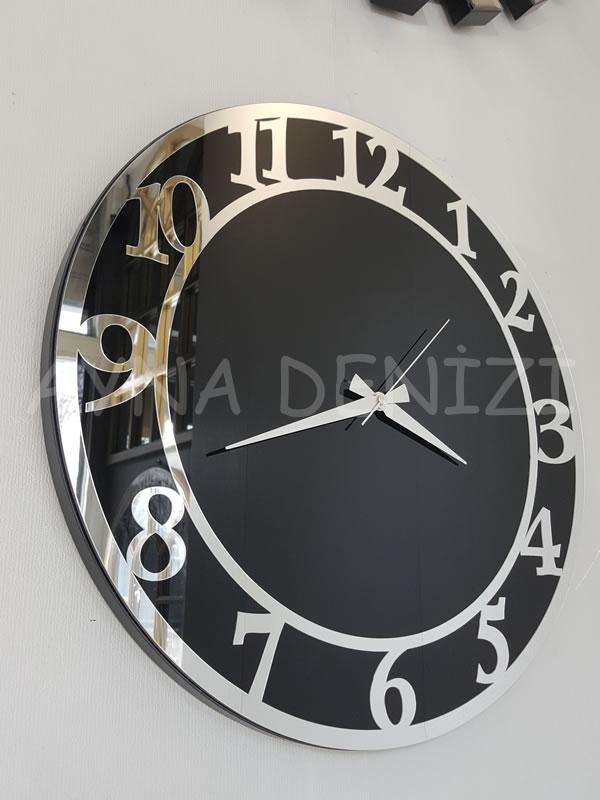 Silver Matris Black Model Gümüş Siyah Renk Dekoratif Aynalı Duvar Saati-3