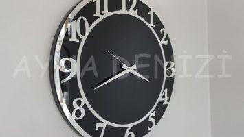 Silver Matris Black Model Gümüş Siyah Renk Dekoratif Aynalı Duvar Saati