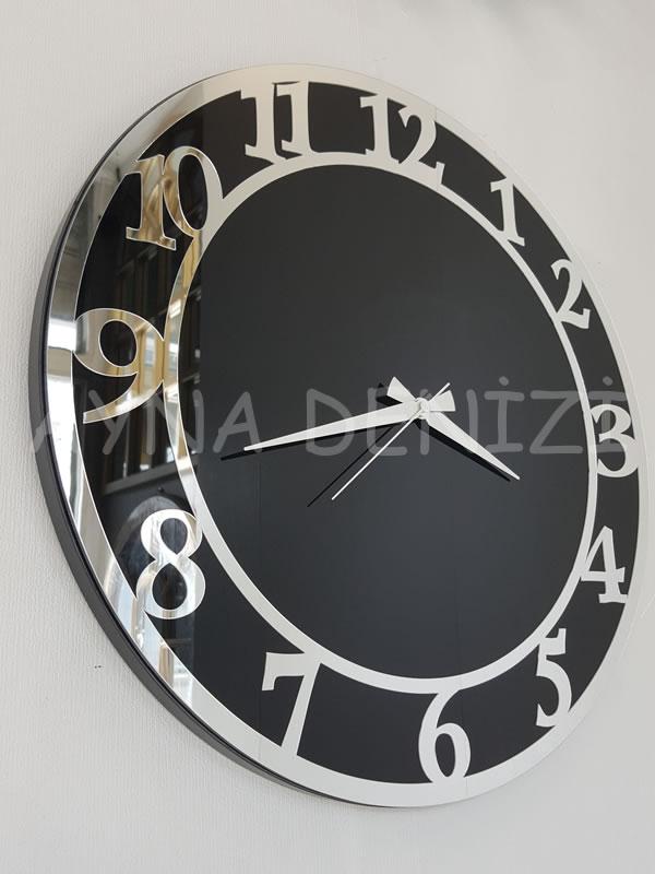 Silver Matris Black Model Gümüş Siyah Renk Dekoratif Aynalı Duvar Saati-4
