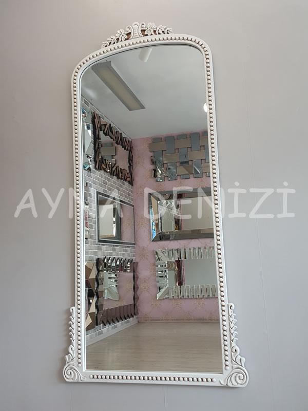 Sinyora Model Eskitme Beyaz Renk Boy Aynası-2