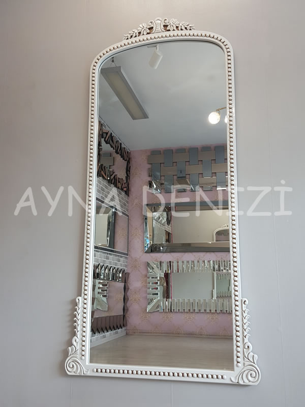 Sinyora Model Eskitme Beyaz Renk Boy Aynası-4