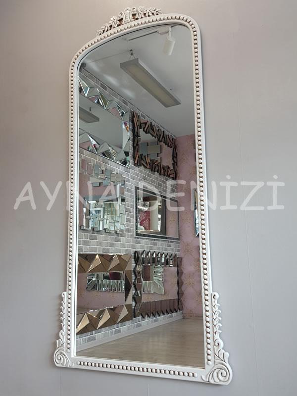Sinyora Model Eskitme Beyaz Renk Boy Aynası-6