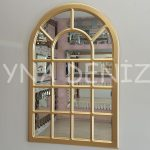 Ancona Model Altın Renk Dekoratif Pencere Ayna-1
