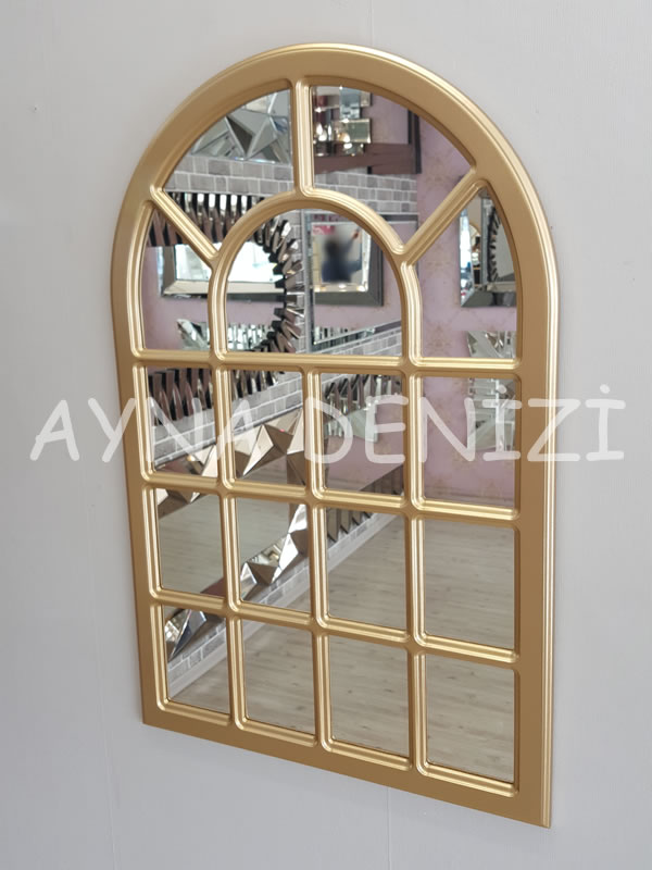 Ancona Model Altın Renk Dekoratif Pencere Ayna-12