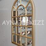 Ancona Model Altın Renk Dekoratif Pencere Ayna-13