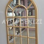 Ancona Model Altın Renk Dekoratif Pencere Ayna-2