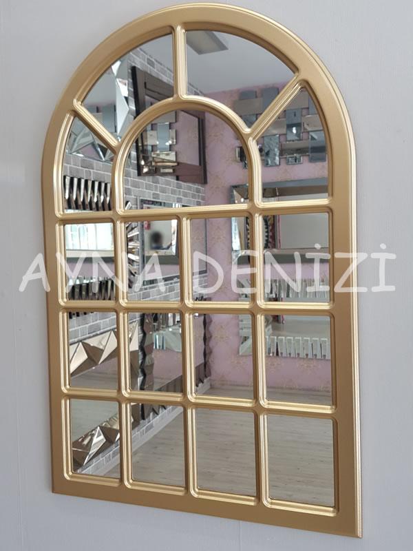 Ancona Model Altın Renk Dekoratif Pencere Ayna-3