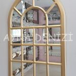 Ancona Model Altın Renk Dekoratif Pencere Ayna-4