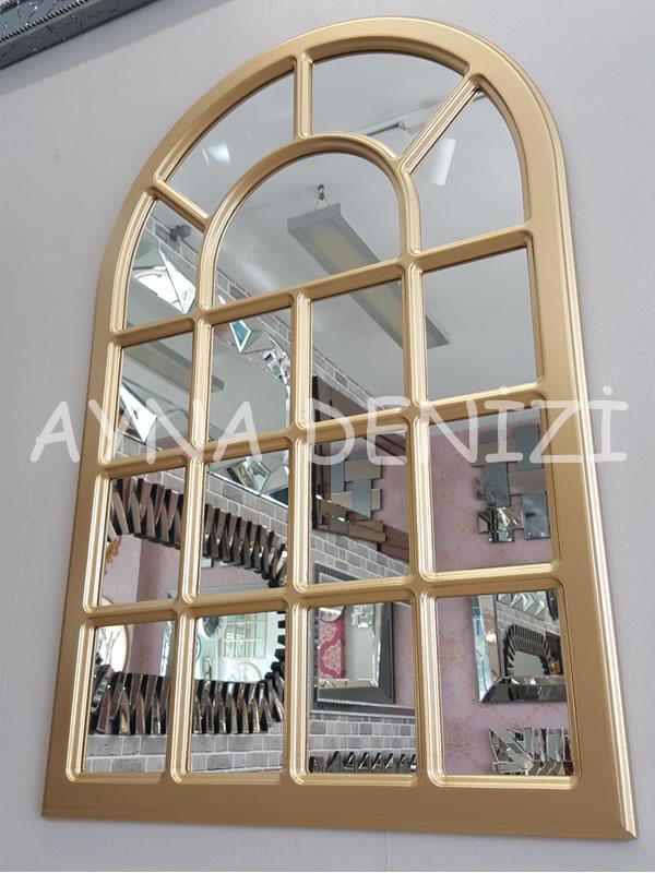 Ancona Model Altın Renk Dekoratif Pencere Ayna-5