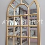 Ancona Model Altın Renk Dekoratif Pencere Ayna-6