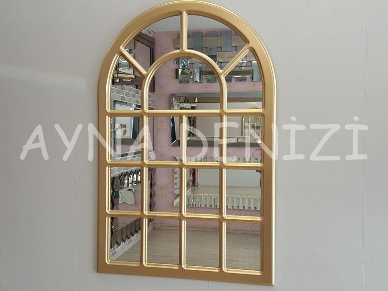 Ancona Model Altın Renk Dekoratif Pencere Ayna