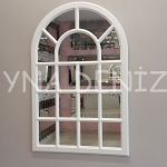Ancona Model Beyaz Renk Dekoratif Pencere Ayna-1