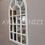 Ancona Model Beyaz Renk Dekoratif Pencere Ayna-10