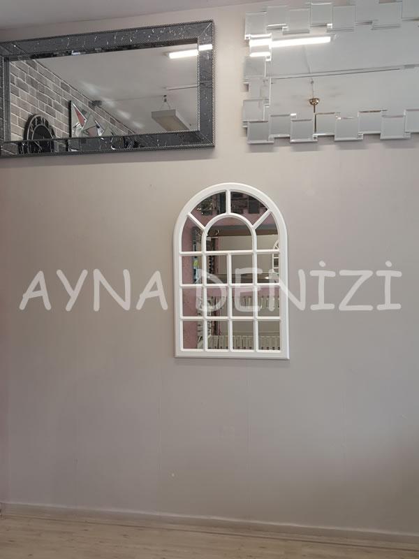 Ancona Model Beyaz Renk Dekoratif Pencere Ayna-12