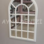 Ancona Model Beyaz Renk Dekoratif Pencere Ayna-13