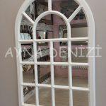 Ancona Model Beyaz Renk Dekoratif Pencere Ayna-14