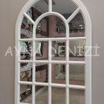 Ancona Model Beyaz Renk Dekoratif Pencere Ayna-15