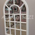 Ancona Model Beyaz Renk Dekoratif Pencere Ayna-3