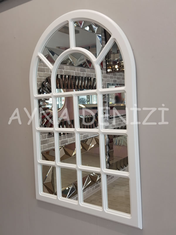 Ancona Model Beyaz Renk Dekoratif Pencere Ayna-4